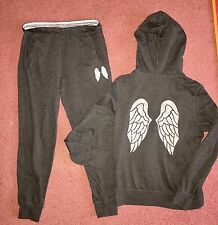 Victoria's Secret Angel Women's Two Piece Track Suit Size SMALL Bling Wings Zip