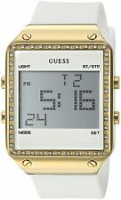 GUESS Women's U0700L1 Gold-Tone Multi-Function Digital Watch on White Silicon...