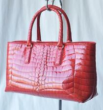 BOTTEGA VENETA Glossy Red CROCODILE Fenice Bag Handbag Shopper Tote Purse NEW