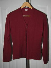 Agnona Cashmere Silk Rust Brown Cardigan Sweater 44 Made in Italy