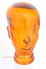 """Glass Bald Head Mannequin Orange Made In Spain Of Recycled Glass 11.5"""" Tall"""