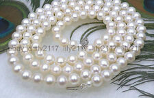 "AAAA+Gorgeous 9.5-10mm round white akoya pearl necklace 50"" 14k white gold clasp"