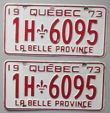 Quebec 1973 License Plate PAIR # 1H-6095