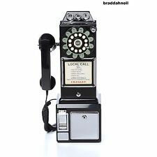 1950's Old Fashioned Rotary Classic Black Dial Pay Phone Vintage Phone Booth Cal