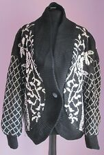VTG Ladies CERVELLE Black/White Floral Acrylic Lined Oversized Cardigan Size M