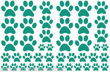 TEAL GREEN PAW PRINTS - total of 44 pieces VINYL WALL DECAL STICKER DOG CAT