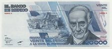 Mexico 20000 Pesos 19-7-1985 Pick 91.a UNC Uncirculated  Serie A Serial AA002642