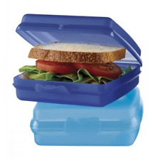 Tupperware Sandwich Keepers Set of Two ~ Indigo Blue & Azure Blue New