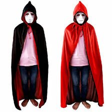 New Women Man Black Red Velvet Hooded Vampire Cape Cloak Halloween Fancy Dress