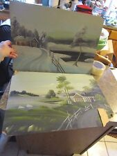 Lot of 2 folk art style paintings signed by Henser - home by water winter - LUD
