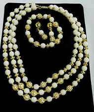 Latest Style Cream white Ball Beads Wedding Party Bridal Rhinestone Jewelry Set