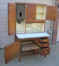 OAK Hoosier SELLERS Cabinet w Flour Bin, 8 pc. Triple Skip  Glassware Set !