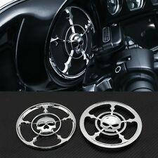 CHROME SKULL SPEAKER GRILLS COVER FOR HARLEY TOURING ELECTRA STREET GLIDE TRIKES