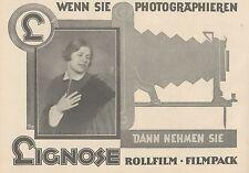 Y4941 Rollfilm und Filmpack LIGNOSE - Pubblicità d'epoca - 1927 Old advertising