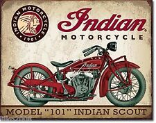 INDIAN MOTORCYCLES,MODEL 101 SCOUT ,  ANTIQUE-FINISH METAL WALL SIGN 40X30CM