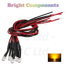 5 x Pre-Wired Yellow LED 3mm Flat Top : 9V ~ 12V : 1st CLASS POST