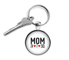 MOM keyring- Mom 24-7-365 -Key ring - altered art, fashion jewelry, wearable art