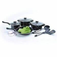 10 pc Non Stick COOKWARE SET Great First Kitchen Camping Big Pots Fry Pan Black