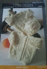 VINTAGE BABY ARAN KNITTING PATTERN, 16 TO 22 INS.