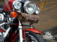 Brown Leather Pouch Tool Roll Bag Harley Davidson Softail Fatboy Sportster Dyna