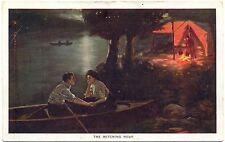 Mann und Frau in einem Boot, See, Zelt mit Feuerstelle, um 1920/30