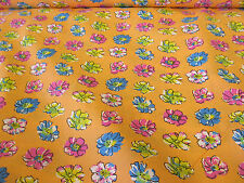"25 Metres Orange ""Petals"" Summer Floral Printed PolyCotton Fabric. (Full Bolt)"