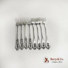 Rose Point Cocktail Forks Set of 8 Sterling Silver Wallace 1934
