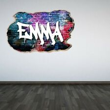 Personalised Graffiti Name Pink Smashed Wall Sticker 3D Decal Boys Girls Bedroom