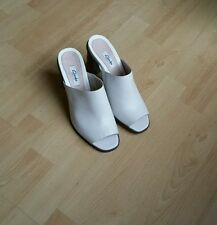 NEW CLARKS IMAGE GALLERY WHITE LEATHER HEEL SLIPPERS UK SIZE 6D