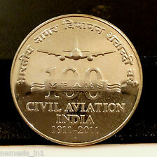 Republic India 2011 100 Rupees Rs Silver Coin Civil Aviation Commemorative.