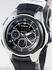 Casio AQ163W-1B1 Mens World Time Yacht Timer Watch Analog Digital 5 Alarms New