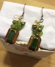 EARRINGS Gemstone Cluster Citrine Peridot  Coloured Fresh Water Pearls Dangle