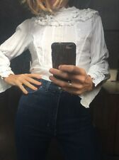 Vintage 80s White Lace Frill Picnic Hanging Rock Style Blouse Top 38 10 40 8