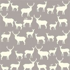 Birch Organic ~ Elk Family Shroom Grey Fabric / quilting cream deer reindeer
