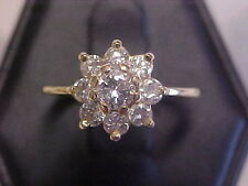 *VINTAGE*1.15ctw NATURAL GENUINE DIAMOND FLORAL RING 14K YELLOW GOLD sz6 BUY NOW