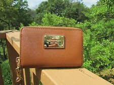 Michael Kors Brown Saffiano Leather Zip Around Cell Phone Holder Wristlet Wallet