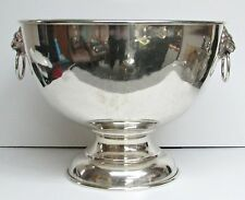 GINORMOUS 1890's FRANK M WHITING STERLING SILVER PUNCH BOWL & LION HEAD HANDLES