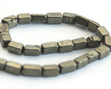 HALF STRAND IRON PYRITE RECTANGLE /  BRICK SHAPED BEADS, 6 X 3.5 MM, GEMSTONE