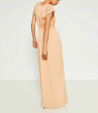 STUNNING ZARA LIGHT PEACH COLOURED LONG DRESS WITH CAPE SLEEVES SIZE S