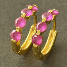Cute 9K Yellow Solid Gold Filled Red Corundum Women's Small Round Hoop Earrings