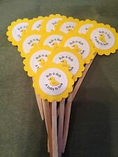 """Rub A Dub A Baby To Love"" Rubber Ducky Cupcake Or Food Picks (Set Of 12)"