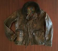 NWT Rare Polo Ralph Lauren Distressed Cow Leather Jacket Antique Brown Men's M