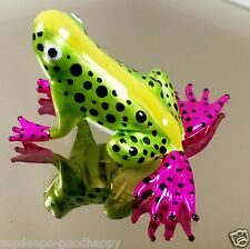 AMAZON TREE FROG COLORFUL FIGURINE PAINTED HAND BLOWN GLASS ANIMALS COLLECTIBLE