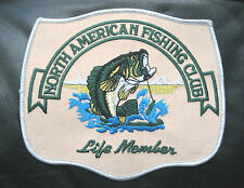 """FISHING CLUB EMBROIDERED SEW ON PATCH NORTH AMERICAN LIFE MEMBER BASS 6"""" x 5 1/4"""