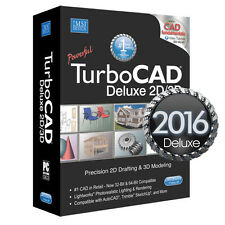 TurboCAD Deluxe 2016 2D CAD Design Software & 3D Modeling. New. FREE SHIPPING!