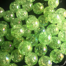 10pcs green Crackle Glass Round 12mm Beads Jewelry Findings Craft Bead Supply~!