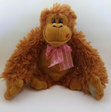 Brown Monkey Valentine's Day Stuffed Animal Plush Pink Bow Red Kiss Lips 8""