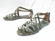 Barneys CoOp Strappy Sandals Womens 39 8.5-9 Olive Grey Snakeskin Gladiator Flat