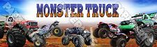 "Monster Truck Poster Banner 30"" x 8.5"" Personalized Custom Name Printing"