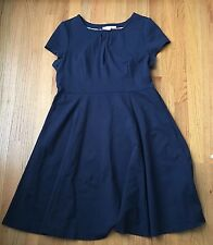 Boden Navy Blue Short Sleeve Fit And Flare Ponte Dress Cotton Stretch Size 16 XL